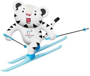 Maskot for vinter-OL i Sør-Korea, hvit tiger